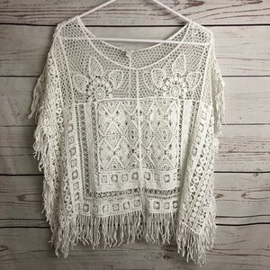 Bohemian White Open Knit Fringe Top